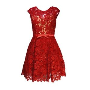 Red Cocktail Dress, Lace Dress, Fit & Flare